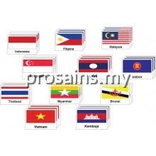 PESPS399 (Prosains) PAPAN BENDERA NEGARA ASEAN 11PCS  ( BM/BI/BC )