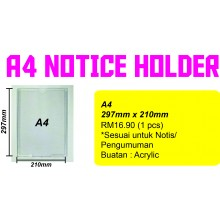 NOTICE HOLDER SAIZ A4 (1 PCS)