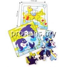 IQ021 (Prosains) - EDUCATIONAL WOODEN PUZZLE (SEA ANIMALS + TRANSPORT) (12 PCS / SET)